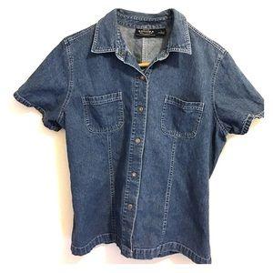 Sonoma Denim Shirt Top Large Short Sleeve